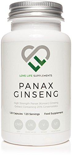 LLS Panax Ginseng 3000mg | Bekannt als Koreanischer Ginseng | 120 Hochleistungskapseln (4 Monate Versorgung) | 300 mg pro Kapsel, 10: 1 Extrakt (3000 mg äquivalent einer ganzen Pflanze) | 20% Ginsenoside | Für ein verbessertes Denken, Konzentration, Gedächtnis und Effizienz bei der Arbeit, körperliche Ausdauer und sportliche Ausdauer | Premium Supplement in Großbritannien hergestellt | Love Life Supplements
