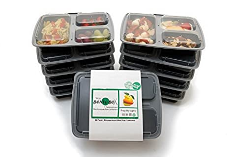 [10 pack] Meal Prep Containers - 3 Compartments BPA-Free. Reusable
