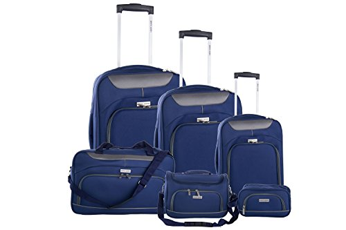 3 Maletas + 2 beauty case + bolsa de viaje PIERRE CARDIN azul avion VS9