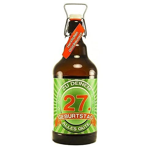 Bier Geschenk zum 27.Geburtstag Geburtstagsgeschenk siebenundzwanzigster Geburtstag XXL 2 Liter Riesenbierflasche zum 27. Geburtstag