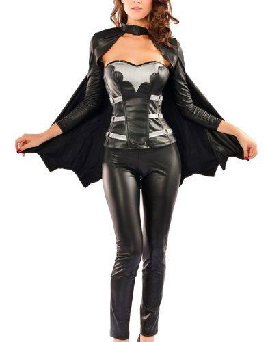 erdbeerloft - Damen Halloween Kostüm, Fledermaus - Frau, schwarz, (Kostüm Frau Teufel)