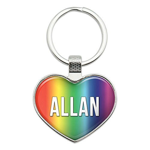 Metal Keychain Key Chain Ring Rainbow I Love Heart Names Male A Alfo