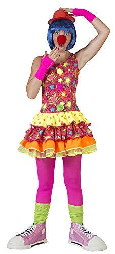 Karneval Klamotten Clown-Kostüm Damen Frauen sexy neonfarben bunt gepunktet Sternen-Muster Kleid Größe 36/38