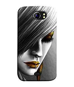 PrintVisa Designer Back Case Cover for Micromax Canvas 2 A110Q :: Micromax A110Q Canvas 2 Plus :: Micromax Canvas 2 A110 (Comic Character Young Lipstick Brown Animation)