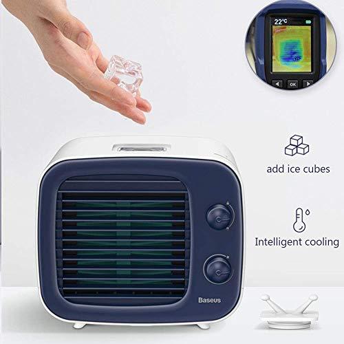YLJYJ Mini Klimaanlage,3 In 1 Tragbare Klimaanlage Luftreiniger Luftbefeuchter Luftkühler Nachtlicht USB Lade 3 Geschwindigkeiten Fan
