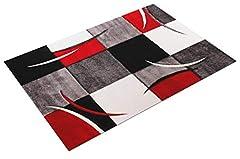 Idea Regalo - Tappeto di Design Orlo Modello A Quadri nei Colori Bianco Rosso Grigio Nero, Dimensione:160x230 cm