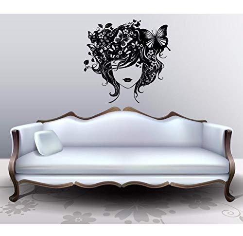 Dalxsh Wandtattoo Vinyl Aufkleber Schönheitssalon Mädchen Schönheitssalon Kosmetische Behandlungen Kunst Dekoration Abnehmbare Wanddekor Fenster 57X55 Cm
