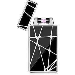 Fypo Briquet Electrique, Briquet USB avec Double Arc Electrique, Briquet Rechargeable, Inépuisable et Ecologique, Figures Géométriques avec Coffret (Rayure argenté)
