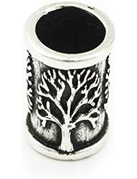 Bartperle mit Lebensbaum aus Silber - Yggdrasil Mittelalter Perle Dreadlocks Innendurchmesser 7mm