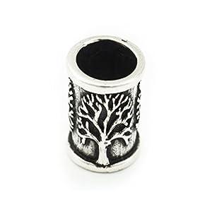 Battle-Merchant Bartperle Wikinger mit Lebensbaum aus Silber – Yggdrasil Mittelalter Perle Dreadlocks Innendurchmesser 7mm