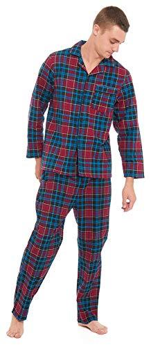 Slumber Hut Herren Flanell Baumwolle Pyjama Traditionell Stil Zuknöpfen mit Kragen Tartan Blau und Kastanienbraune - Größe 5XL