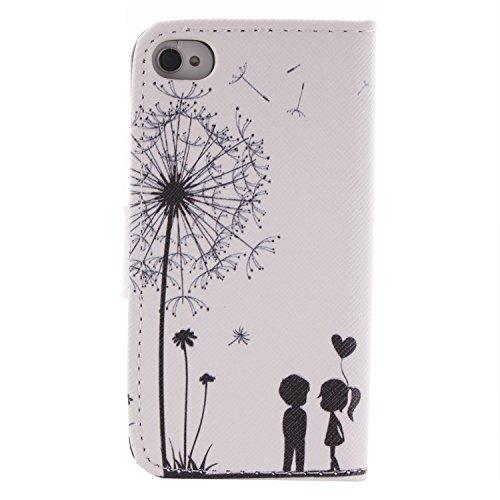 MOONCASE iPhone 4 Case Dessin Coloré Coque en Cuir Haute Qualité Portefeuille Housse de Protection Étui à rabat Case pour iPhone 4 4S -LK19 ST13