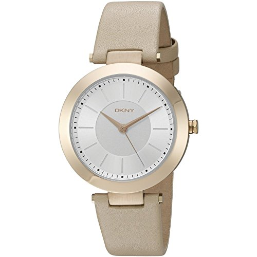 DKNY Women's 36mm Beige Calfskin Band Steel Case Quartz Silver-Tone Dial Analog Watch NY2459