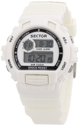 Sector Unisex Digital Watch with LCD Dial Digital Display and White PU Strap R3251172020