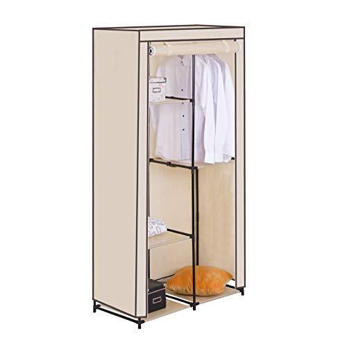 WOLTU SS5025cm Kleiderschrank Stoff, Garderobenschrank Faltschrank, Stoffkleiderschrank mit Kleiderstange, Crème Weiss, DIY Innenraum, 88,3x46x169 cm