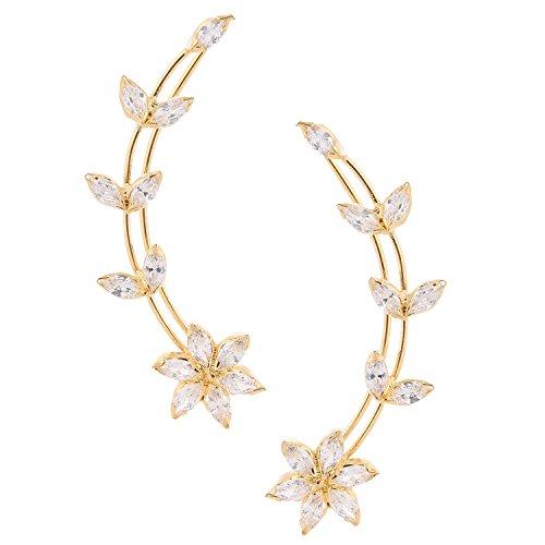 Gold Tone Indian Ethnic White American Diamond Designer Ear Cuffs Earrings Jewellery for Girls/Women (Earrings Gold White Diamond Fake)