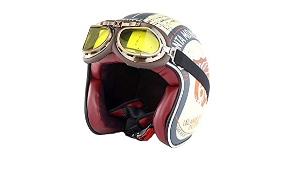 Harley Motorradhelm Erwachsene Retro Anti Collision Mesh Baumwollfutter Motorradhelme mit Brille Chopper Outdoor Open Face Moto Caps Hut f/ür Motocross Racing