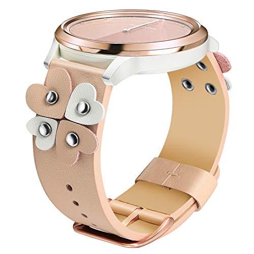 TRUMiRR Armband kompatibel mit Vivomove HR Damen Armband, Echtes Leder Armband Einzigartiges Herz Gepunktete Manschette Feminine Uhrenarmband Schnellwechsel Ersatzband für Garmin Vivomove HR - Herz-manschette