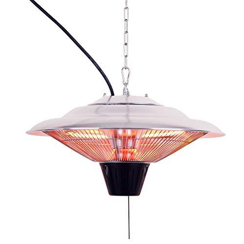 JOM Chauffage électrique suspendu / radiant infrarouge de Plafond Puissance 1500 Watt, aluminium / plastique - suspensions à hauteur ajustable manuel (câble)