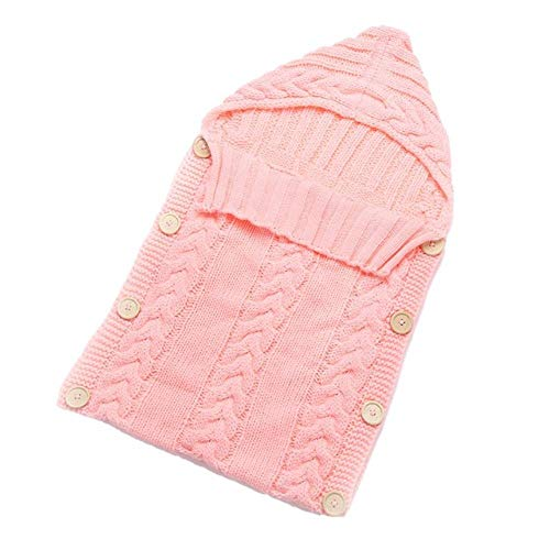 Kleinkind Handgemachte Kostüm - lili Neugeborenen Kleinkind Decke handgemachte Säuglingsschlafsack Stricken Kostüm häkeln Baby gestrickte Schlafsäcke Schlafsäcke Button, Hellrosa