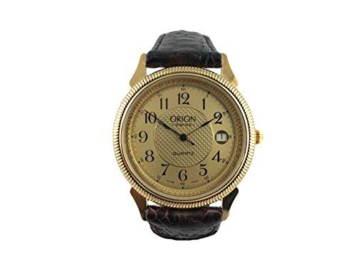 Reloj Suiza Orion, clásico, chapado en oro, pulsera piel