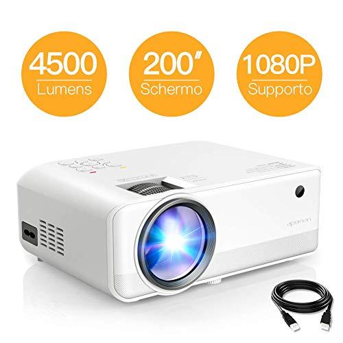 Proiettore apeman portatile videoproiettore,4500 lumen led supporto 1080p doppi altoparlanti incorporati 50000 ore cinema domestico compatibile hdmi/vga/sd/av/usb supporto laptop/tv box/telefono/ps4