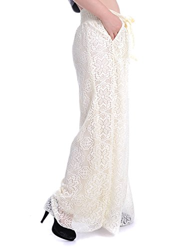 Anna-Kaci Boho Blumen Spitze weitem Bein hoher Taille vorne Krawatte Palazzo Pants Lange Hosen Beige
