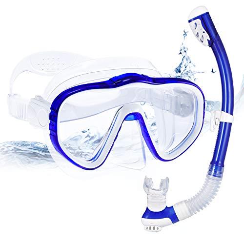 OMORC Set de Plongée avec Tuba,Masque de Plongée Anti-Fuite Respiration Libre Sangle Réglable,Verre trempé Anti-buée Vision Panoramique Clear 180°pour Adultes (Bleu)
