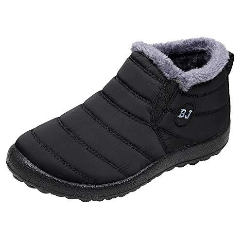 BaZhaHei Schuhe Mode Frauen und Männer Winter Einfarbig Warm Warm Stiefeletten Plus Samt Stiefel Flache Schneeschuhe Ankleboots Kurzstiefelette Schlupfstiefeletten