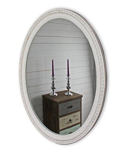Specchio Da Parete Grande Con Cornice.Specchio Da Parete Bianco Anticato Con Cornice In Legno Ovale A