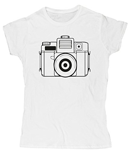 Hippowarehouse Illustrated Camera Womens Fitted Short Sleeve t-Shirt (Specific Size Guide in Description)