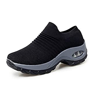 Womens Walking Shoes Slip On Air Cushion Wedge Paltform Loafers Comfort Nursing Shoes Working Trainers Sneakers Lightweight Running Shoes Black UK 5(1839hei39)