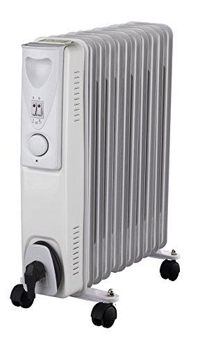 Daewoo Blanc Radiateur à bain d'huile Électrique Portable. 11 éléments, 2500W. 3 niveaux de puissance et thermostat réglable. Couleur blanc. Design exclusif.