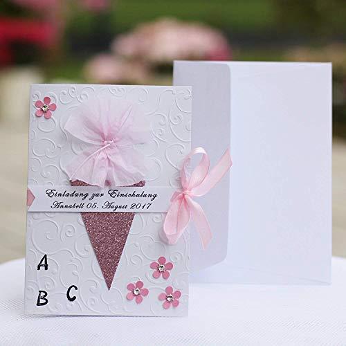 12 personalisierte Einladungskarten Einladung zur Einschulung Schuleinführung 1. Schultag Schulanfang Zuckertüte ABC rosa Mädchen Handarbeit binnbonn