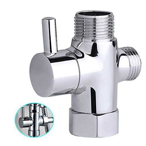 HQSHOP 3-Wege-Duscharm-Umstellventil, 1,27 cm IPS-Duschsystem, massives Messing, Ersatzteil für Handbrause und feste Duschkopf, poliertes Chrom (Duschkopf Messing Poliert)
