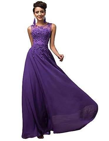Femme Robe Violette à Col V Robe à Taille Haute pour Femme Taille 44 YF7555-2