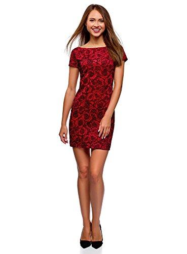 oodji Ultra Femme Robe en Maille à Imprimé Floqué, Rouge, FR 38 / S