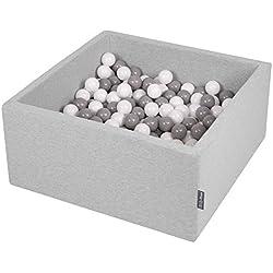 KiddyMoon 90X40cm/200 Balles ∅ 7Cm Carré Piscine À Balles pour Bébé Fabriqué en UE, Gris Clair: Blanc-Gris