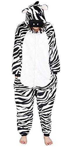 Anbelarui Zebra Jumpsuit Tier Karton Schlafanzug Fasching Halloween Kostüm Sleepsuit Cosplay Fleece-Overall Pyjama Erwachsene ( (Erwachsene Schwarzer Overall Kostüme)
