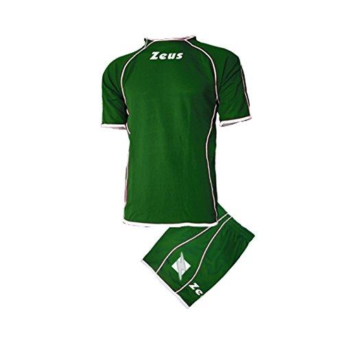 Zeus Kit Shox Herren Kinder Set Fußball Trikot Shirt Hosen Klein Armel Hallenfußball Grün Weiss (S)