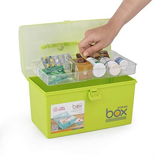 41U%2B522tI3L - Mayish Verde Caja de Medicamentos Caja Maquillaje Botiquín Caja de Almacenamiento de Plástico Botiquin de Primeros Auxilios Caja de Almacenamiento Pequeña con Cerradura, 1 Paquete