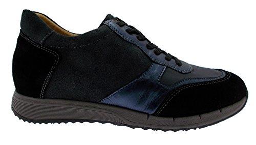 art C3681 lacci camoscio blu nero grigio plantare sneaker scarpa donna 37 nero
