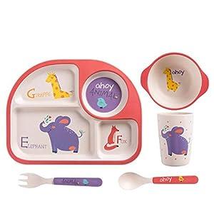 Juego de cubiertos para niños de fibra de bambú, plato de dibujos animados para el compartimento del bebé, juego de tenedor de cuchara para el hogar de comida para bebés, cinco cangrejos grandes