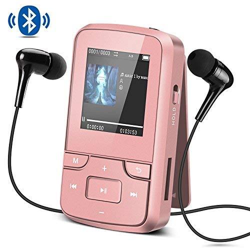 AGPTEK Reproductor MP3 Bluetooth Deportivo con HD Pantalla 1.5 Pulgada, G6 Mini Clp3 Mp3 Running con con Radio FM, Grabadora de Voz y Auriculares, Banda del Brazo, Funda Silicona,Rosa