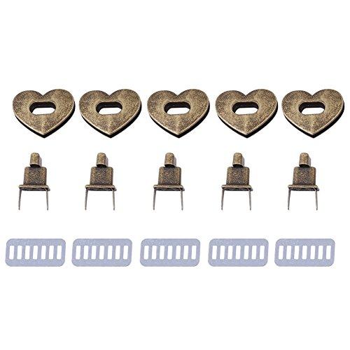5 Sätze Herzförmigen Tasche Verschluss, Craft Case Verschluss Turnlock Hardware Handtasche Tasche Gürtel Twist Lock Zubehör 3,2 × 2,8 cm(Bronze) (Twist-verschluss)
