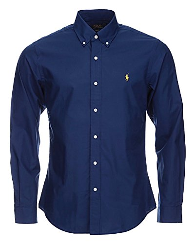 ralph-lauren-shirt-navy-blue-poplin-custom-fit-medium