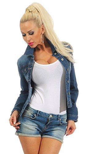 Fashion4Young 11301 Damen Jeansjacke Damenjacke Jeans Jacke Kurze Jacke  Stretch-Denim Slimline (dunkelblau, XXL-44) 0a9b008a11