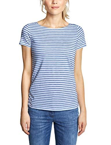Cecil Damen 313336 Abbi T-Shirt, Faded Denim Blue, Large - Denim-gestreiftes T-shirt
