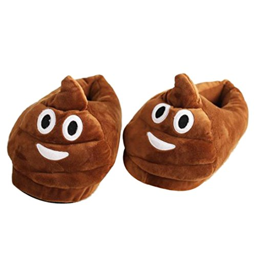 Emoji Hausschuhe Herren Damen, DoraMe Männer Frauen Cartoon Hause Pantoffeln Plüsch Slipper Ausdruck Winter Wärmehausschuhe Winter Baumwolle Pantoffeln (Braun, EU: 35-44)