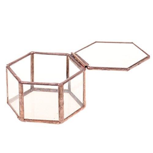 MagiDeal Mini Caja de Joyería de Vidrio de Cobre de Estilo Clásico T
